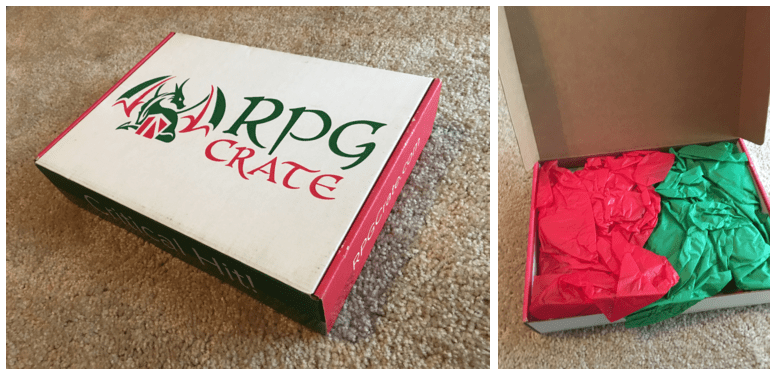 Box, closed and opened. White box with red and green sides, says RPG Crate on the top, and Critical hit on the side. When opened there is red and green tissue paper