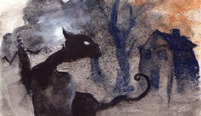 A twisted black cat in profile, with spooky trees and a strange figure behind it.