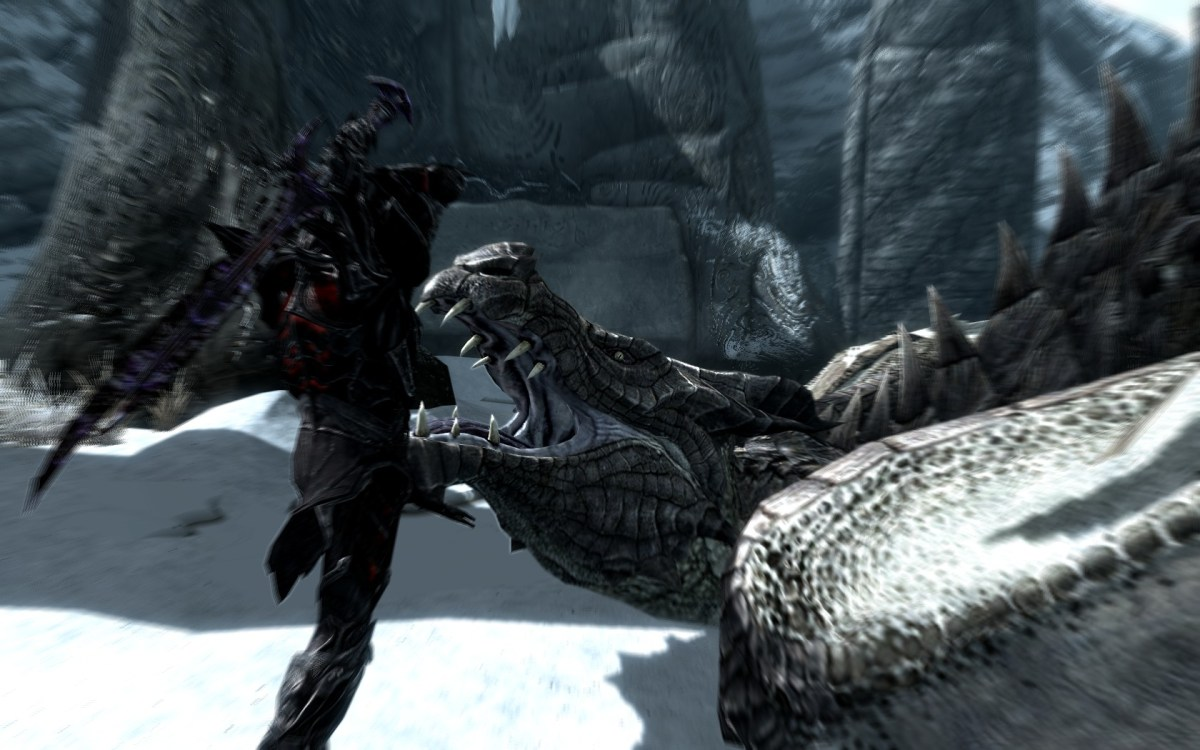 The Elder Scrolls Skyrim Sceenshot Wallpaper Dragon Kill Cutscene