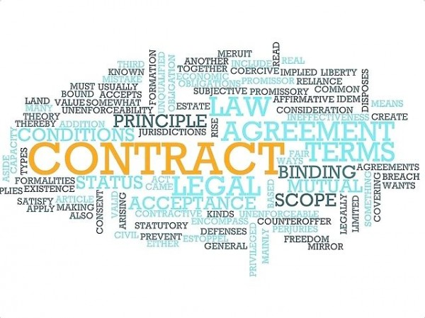 Contract Law Word Cloud
