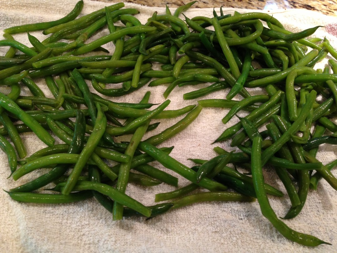 green beans steamed towel