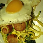 """Zucchini """"Noodles"""" With Greens, Eggs, And Sausage"""