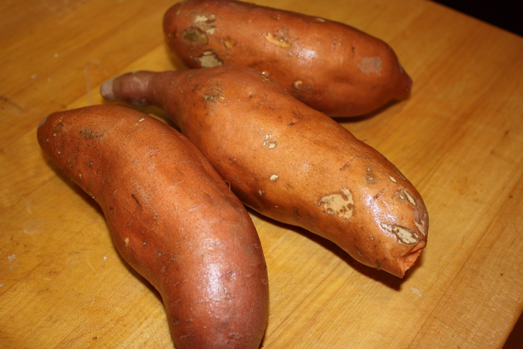 whole unpeeled sweet potatoes