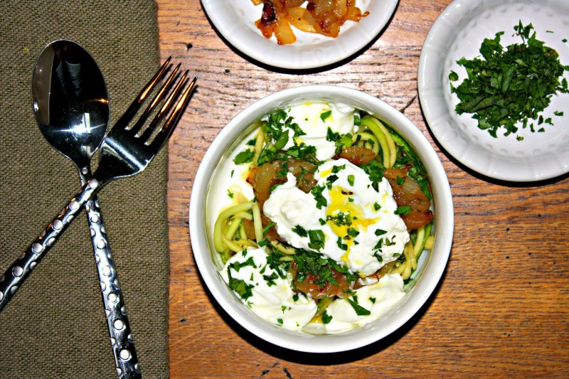 large zucchini noodles with onions and yogurt