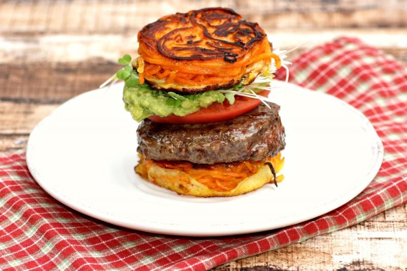 2200 burger on sweet potato bun side view