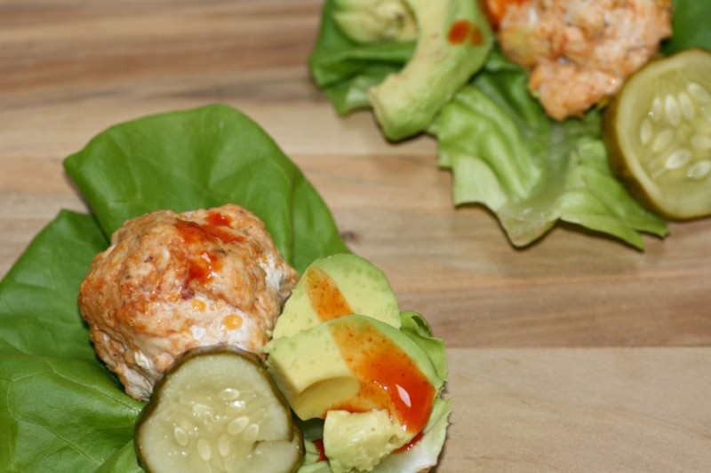 chicken meatball lettuce wraps very close