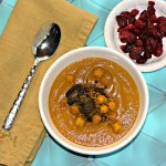 Carrot Lentil Soup With Spiced Chickpeas And Brussels Sprouts