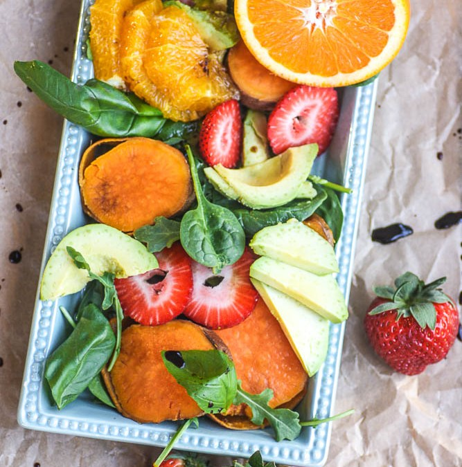 Sweet Potato Strawberry Arugula Salad