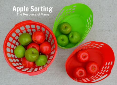 Apple sorting-a great activity for toddlers! Added bonus, bought all the supplies at the Dollar Tree.