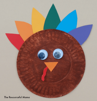 Colorful turkey kid craft for Thanksgiving.