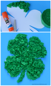 Crepe paper St. Patrick's Day craft for kids. Free shamrock template.