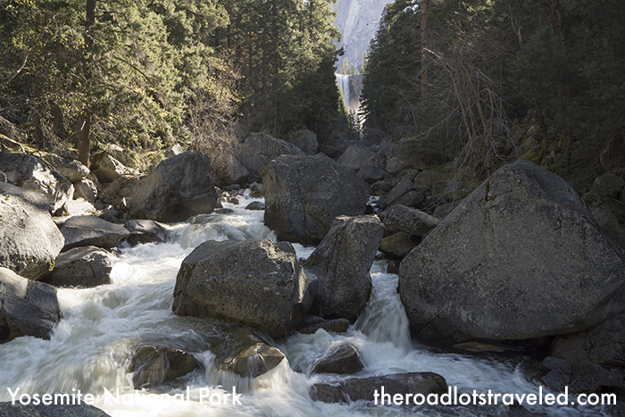 Boulders choke the Merced River downstream from Vernal Falls along the Mist Trail in Yosemite National Park