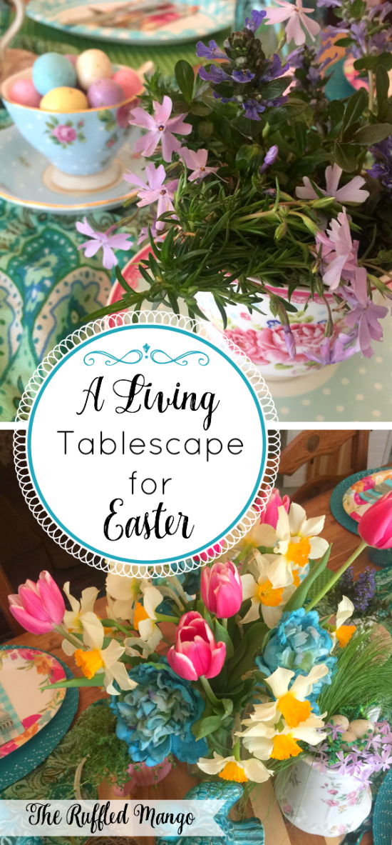 What better way to celebrate Easter than with a living tablescape full of charming spring flowers and herbs? Bring the outdoors inside for the party!