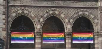 Equality Rainbow Flags on Church