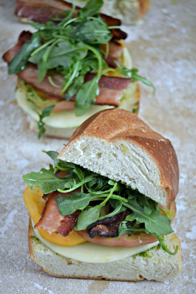 Bacon, Arugula & Heirloom Tomato BLT Sandwich + Kale Basil Pesto