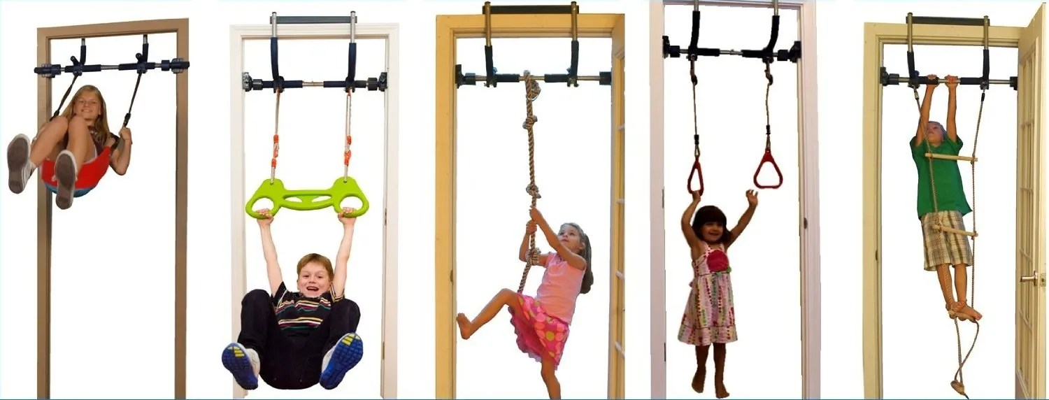 Gorilla Gym Kids With Indoor Swing Plastic Rings Trapeze