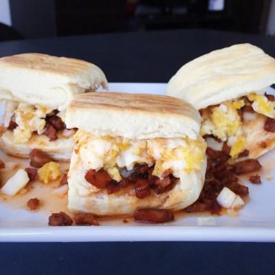 Chorizo, Cheddar & Soft Scrambled Egg Biscuit Sliders w/ Sriracha ...