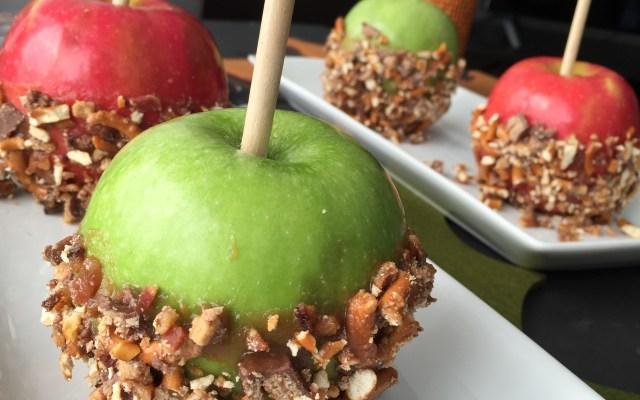 Halloween Candy, Bacon, Pretzels & PB-Caramel Apples