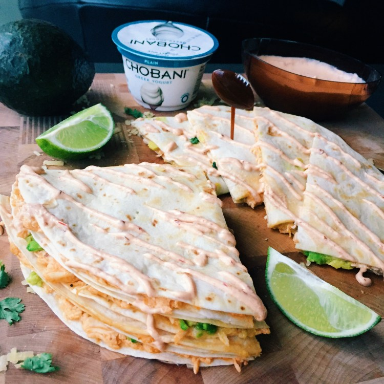 Pulled Buffalo Chicken & Cheddar Quesadillas w Chipotle Lime Crema # ...