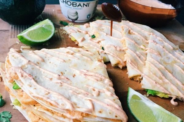 Pulled Buffalo Chicken & Cheddar Quesadillas w Chipotle Lime Crema #MadeWithChobani