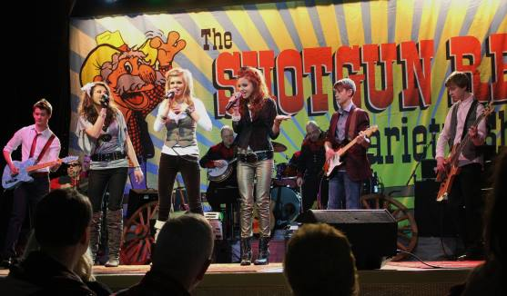 Jetset Getset performs on The Shotgun Red Variety Show on RFD-TV in Nashville. (Photo by Angie Little)