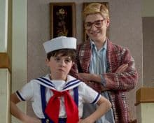 Braeden Lemasters and Valin Shinyei as Ralph and Randy Parker in Christmas Story 2