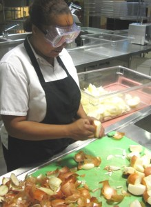 Kelly, prepping onions