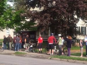 Sunday morning queue at the donut wagon