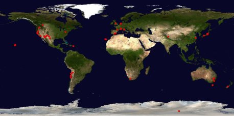 A map of observatories participating in Around the World in 80 Telescopes.  (Click to embiggen.)