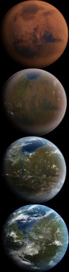 The way terraforming might change Mars. (From Wikimedia Commons)