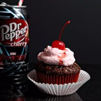 Dr. Pepper® Cherry Cupcakes with Grenadine Whipped Cream
