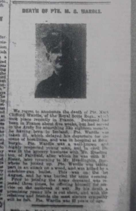 Obituary from Buxton Advertiser