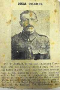 Tom Radford WW1 Original Newspaper cutting