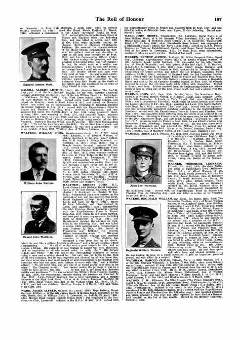 Obituary Roll of Honour