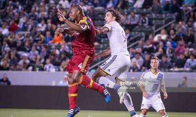 CARSON, CA - MAY 27: Jamison Olave (4) of Real Salt Lake defends a cross intended for Alan Gordon (9) of Los Angeles Galaxy during Los Angeles Galaxy's match against Real Salt Lake at the Stubhub Center on May 27, 2015 in Carson, California. The LA Galaxy won the match 1-0. (Photo by Shaun Clark/Getty Images)