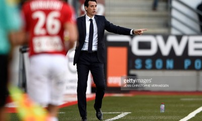 Paris Saint-Germain's Spanish headcoach Unai Emery gestures during the French L1 football match between Nancy (ASNL) and Paris (PSG) on October 15, 2016, at Marcel Picot stadium in Tomblaine, eastern France. / AFP / JEAN-CHRISTOPHE VERHAEGEN (Photo credit should read JEAN-CHRISTOPHE VERHAEGEN/AFP/Getty Images)