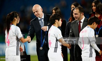 AMMAN, JORDAN - OCTOBER 21: HRH Prince Ali bin Hussein of Jordan and FIFA President Gianni Infantino hand the medals over to players of Japan after the FIFA U-17 Women's World Cup Finale match between Korea DPR and Japan at Amman International Stadium on October 21, 2016 in Amman, Jordan. (Photo by Boris Streubel - FIFA/FIFA via Getty Images)