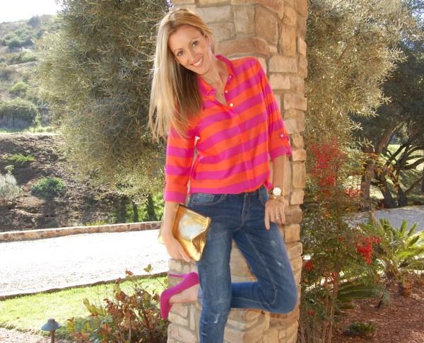 ann taylor striped blouse
