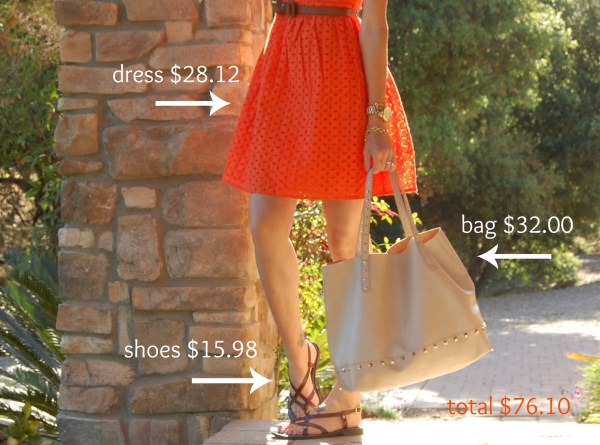 orange eyelet fit & flare dress