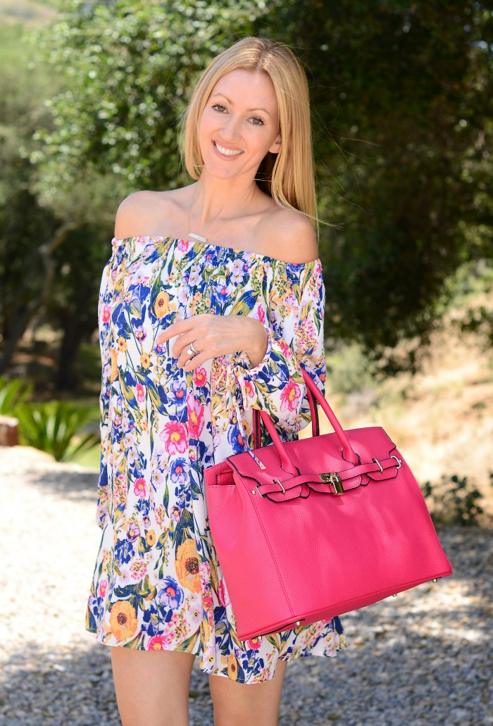MinkPink Floral Print Off the Shoulder