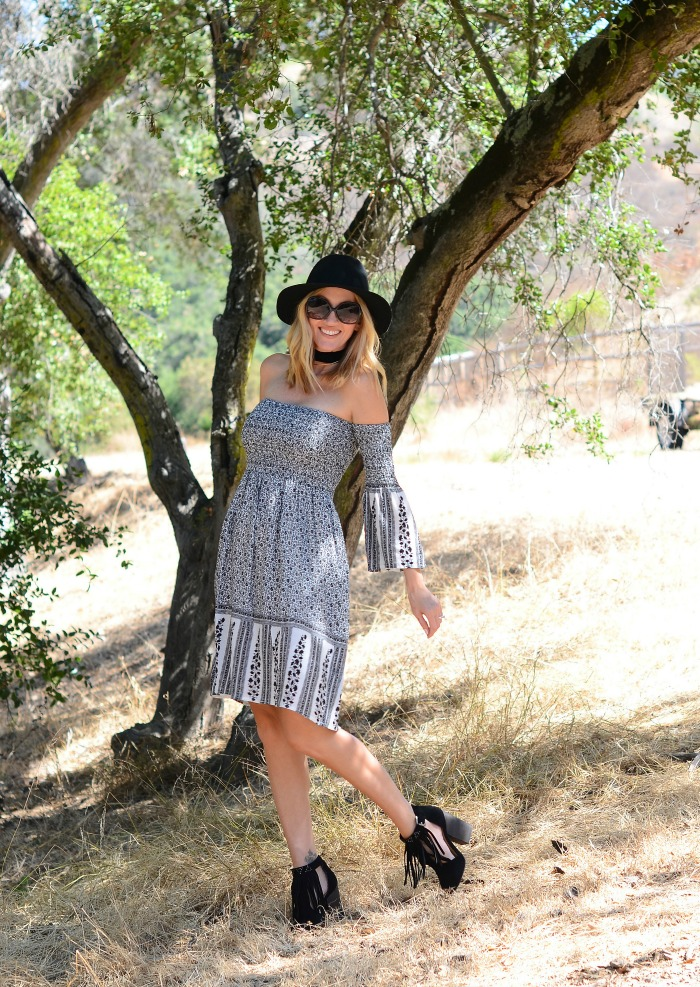 Off the Shoulder Dress with Bell Sleeves