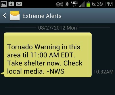 Screenshot Emergency Alert Samsung Galaxy S3