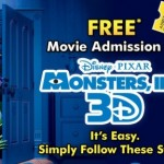 Free Movie Admission To Monsters, Inc 3D