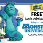 Free Movie Ticket Monsters University Disney Pixar