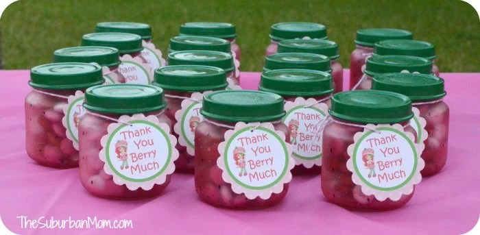 Strawberry Shortcake Birthday Party Favor Baby Food Jar