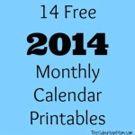 14 Free 2014 Printable Monthly Calendars
