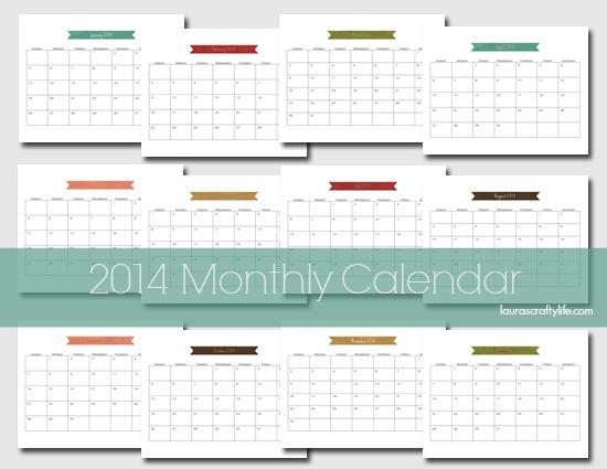 14 free 2014 printable monthly calendars thesuburbanmom