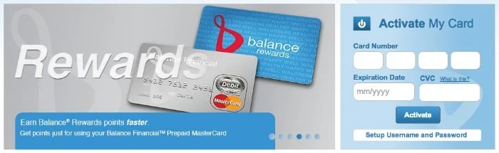 Balance Financial Prepaid MasterCard from Walgreens