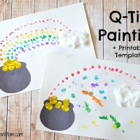 Painting Rainbows With Q-Tips + Free Printable Template