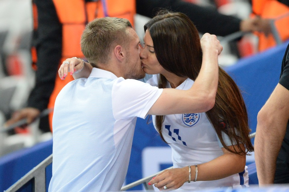 Vardy kisses his wife Rebekah after England's humiliating exit